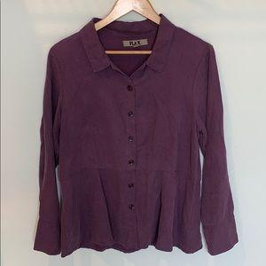 FLAX Purple Collared Button Down Tunic